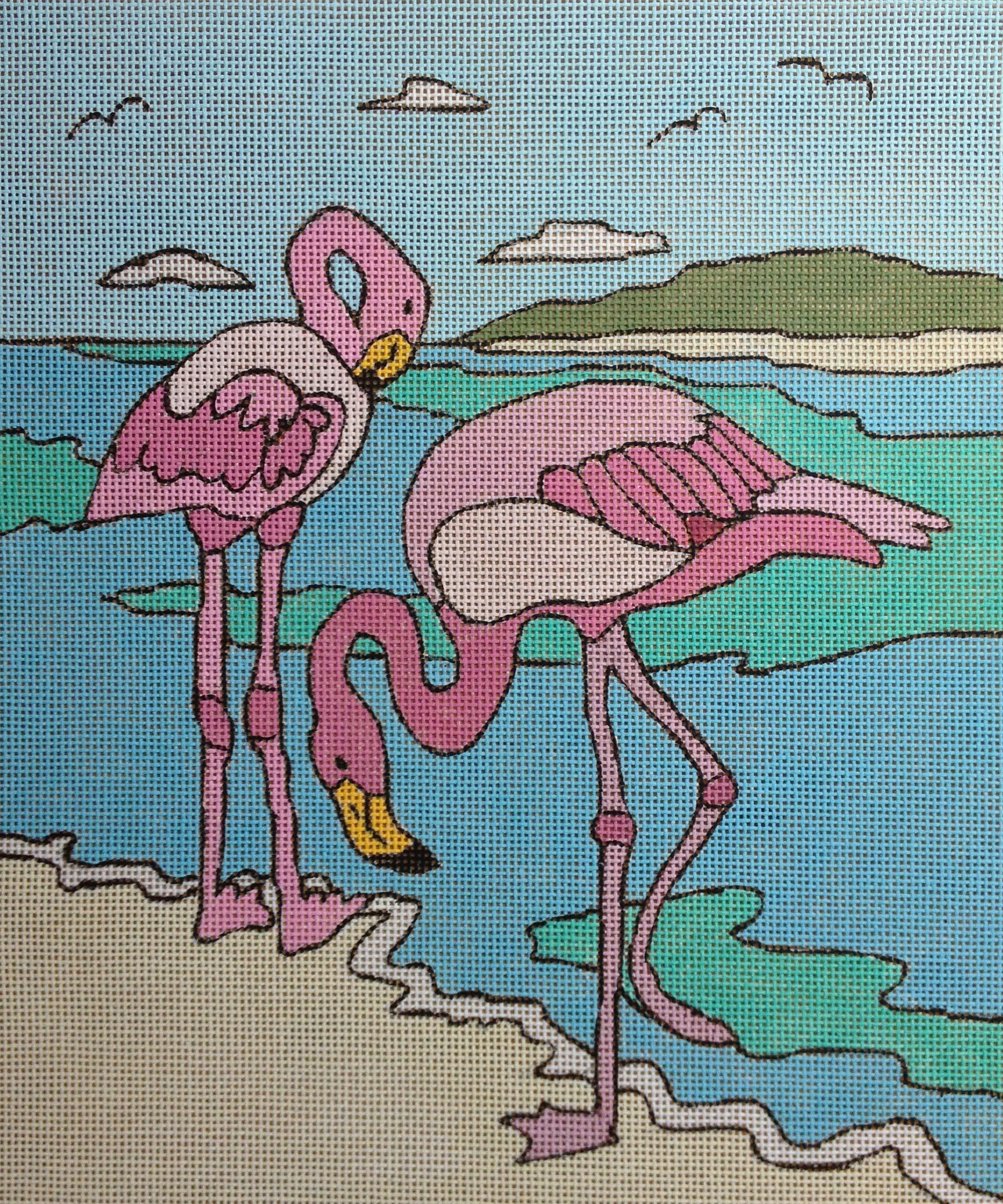 Flamingos Seaside Purple Palm Designs